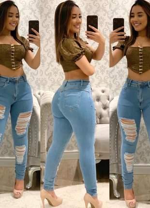 Calça jeans skinny giletada