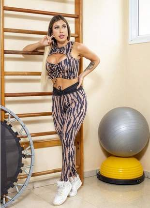 Conjunto fitness animal print