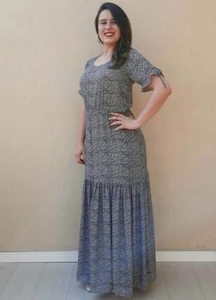 Vestido longo duas marias onça