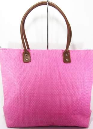 Bolsa de praia de palha juta reforçada rosa