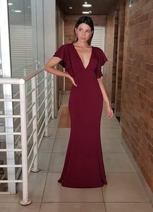 Vestido de festa blogueira longo bojo rosê marsala branco