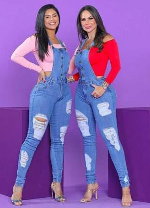 Jardineira jeans longa