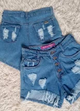 Shorts jeans claro feminino hot pants cintura alta desfiado roupa feminina moda instagram