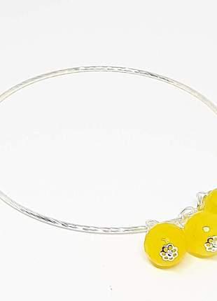 Bracelete de pedra natural de jade amarelo