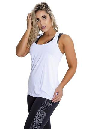 Regata feminina fitness alonguete branco