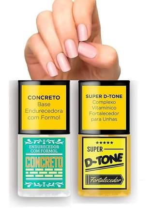 Kit sos unhas base concreto + super detone fortalecedor top bauty