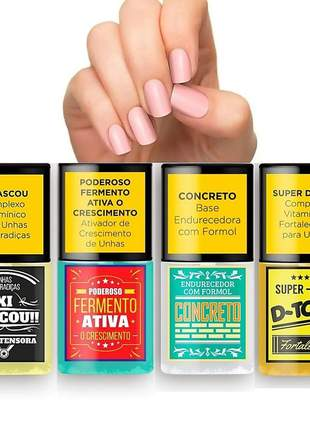 Kit sos unhas bases de tratamento top beauty (4 itens)