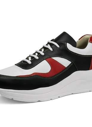 Tênis Dad Sneaker Rebento em Couro Chunky Feminino