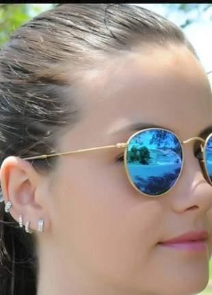 Óculos de sol lente espelhada moda praia feminino luxo
