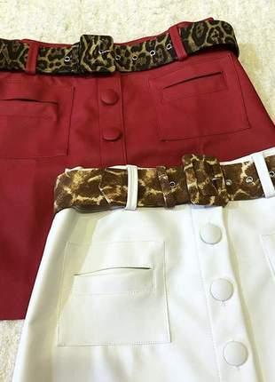 Saia couro ecológico com botões branco