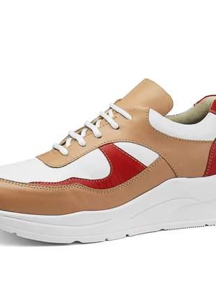Tênis FlatForm Em Couro Rebento Dad Sneaker Cano Curto Rosê