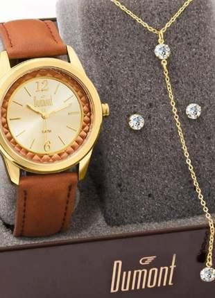 Kit relógio feminino dumont original com garantia