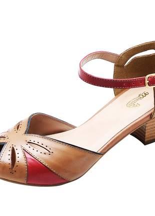 Sandália feminina retro peep toe em couro salto grosso baixo sapatofran whisky/vermelho