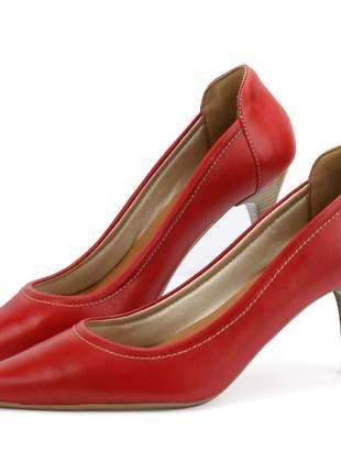 Scarpin em couro salto médio e bico fino vermelho sapatofran feminino