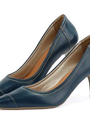 Scarpin em couro salto fino médio e bico fino sapatofran azul marinho feminino