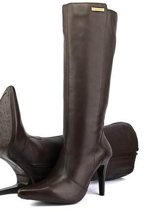 Bota cano longo feminina luxo em couro sapatofran salto alto com zíper ref:2211