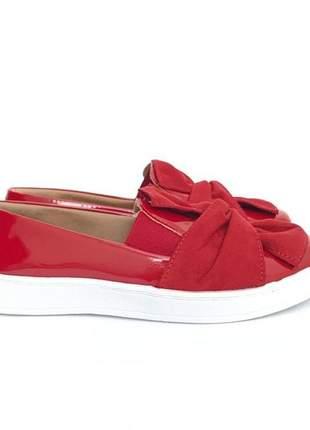 Tenis slip on fun store lace confortavel vermelho laço