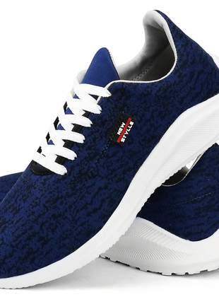 Kit tênis sapatofran casual skateboard preto e azul