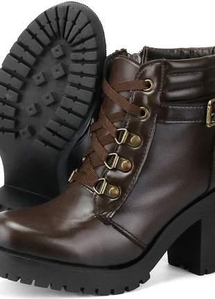 Bota coturno tratorada luxo sapatofran confortável com salto em bloco ref:519