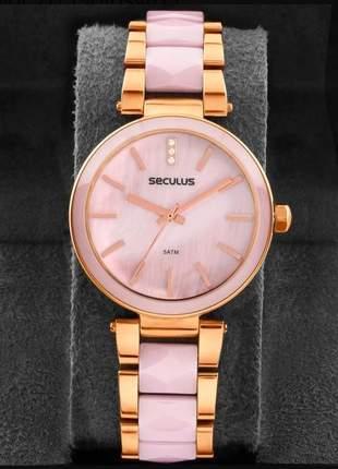Relógio feminino seculus original bicolor 20596lpsvrq3