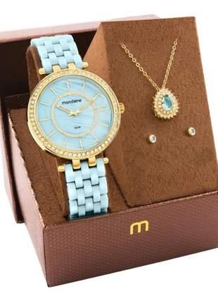 Kit relógio feminino mondaine com semi joias