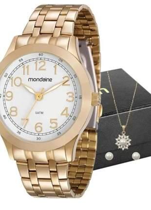 Kit relógio feminino mondaine colar e brincos