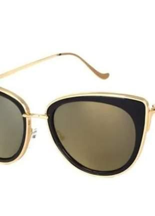 Óculos de sol feminino gatinho preto dourado espelhado