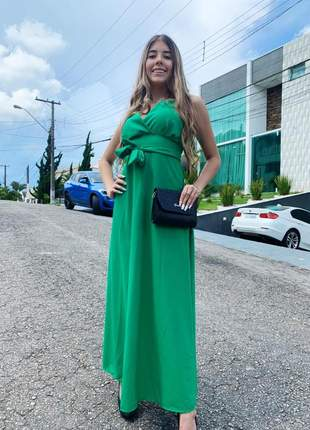 Vestido longo verde esmeralda com laço