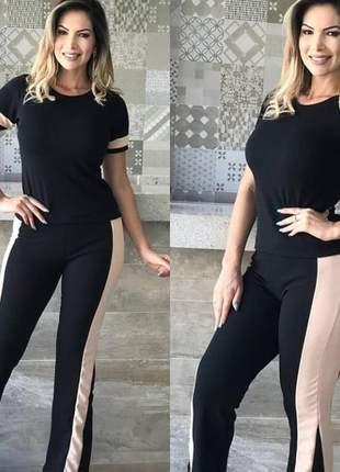Conjunto de calça e blusa de crepe com elastano