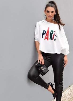 Calça legging elastica couro sintetico feminina