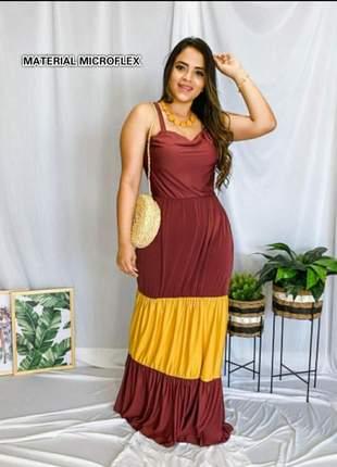 Vestido longo alcinha bicolor