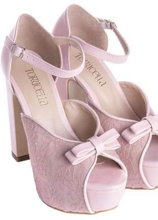 a3b823b2bc Sandalias femininas peep toe renda rosa