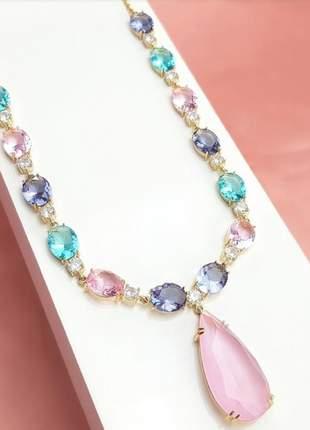Colar cristais rosa