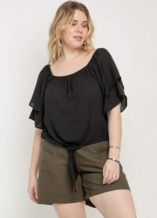 Blusa ombro a ombro amarração plus size