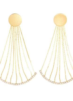 Brinco maxi franja design véu de noiva folheado a ouro 18k
