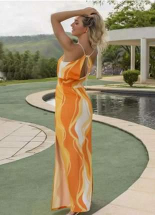 Vestido longo tricomix colorful