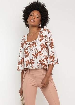 Blusa decote quadrado floral ferruguem tam.: m _ 38/40