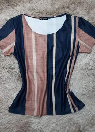 Blusa blusinha t-shirt listrada feminina moda evangélica