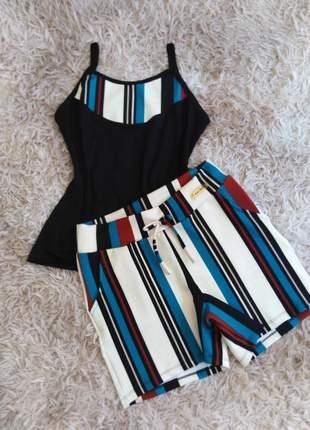 Conjunto verão feminino short e blusa de alcinha