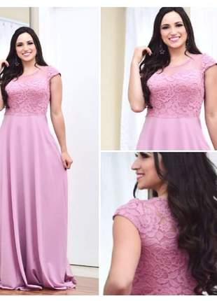 Vestido plus size de festa manguinha madrinha casamento senhoras mãe noivos marsala rosê