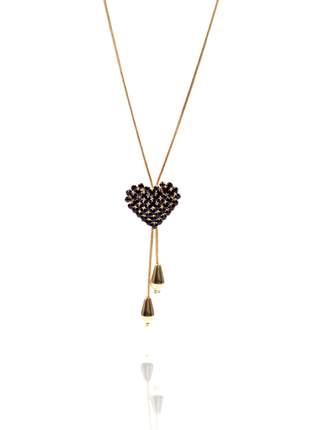 Colar coração com pedras preto/black folheado a ouro 18k
