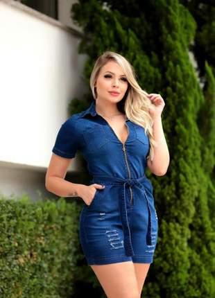 Macaquinho jeans gola c/lycra