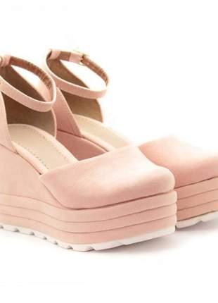 Sandália plataforma rosê