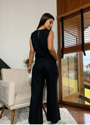 Conjunto social calça pantalona e blusa sem mangas