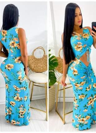 Vestido longo detalhe barriga