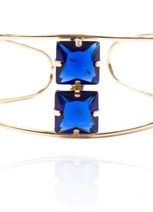 Bracelete pedra cristal azul marinho e escuro folheado a ouro 18k