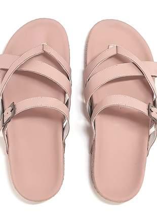 Birken chinelo couro stefanello nairobi rosa
