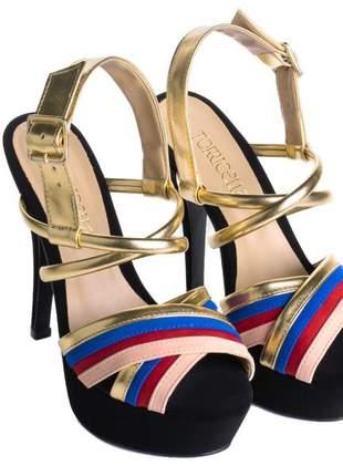 Sandália meia pata  metalizado ouro e napa rose, vermelho e azul