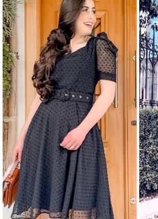 Vestido feminino poá c/ renda e cinto