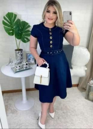 Vestido midi jeans moda evangélica
